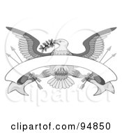 Royalty Free RF Clipart Illustration Of A Grayscale Bald Eagle With A Branch Arrows And Blank Banner by C Charley-Franzwa