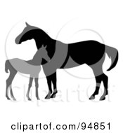 Royalty Free RF Clipart Illustration Of A Silhouetted Gray Foal By A Mare
