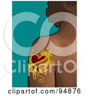 Royalty Free RF Clipart Illustration Of A Heart Tattoo On A Womans Arm by NL shop