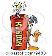 Clipart Picture Of A Hammer Mascot Cartoon Character Standing With A Lit Stick Of Dynamite by Toons4Biz