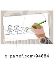 Hand Drawing A Stick Family With A Pencil