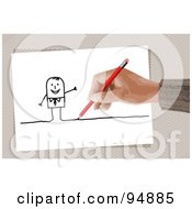 Royalty Free RF Clipart Illustration Of A Hand Drawing A Stick Man With A Pencil by NL shop