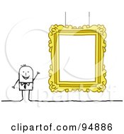 Royalty Free RF Clipart Illustration Of A Stick People Man Presenting A Blank Gallery Frame