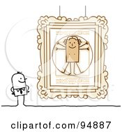 Royalty Free RF Clipart Illustration Of A Stick People Man Viewing Paintings In A Gallery Or Museum 2 by NL shop
