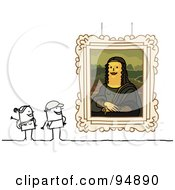 Royalty Free RF Clipart Illustration Of A Stick People Couple Viewing The Mona Lisa by NL shop