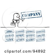 Royalty Free RF Clipart Illustration Of A Digital Collage Of A Stick People Businessman With Company Stamps by NL shop