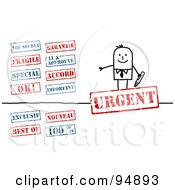 Digital Collage Of A Stick People Businessman With Red And Blue Stamps