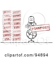 Royalty Free RF Clipart Illustration Of A Digital Collage Of A Stick People Businessman With Travel Stamps