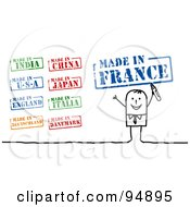Royalty Free RF Clipart Illustration Of A Digital Collage Of A Stick People Businessman With Made In Stamps by NL shop