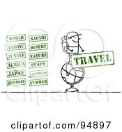Royalty Free RF Clipart Illustration Of A Digital Collage Of A Stick People Traveler With Stamps by NL shop