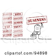 Royalty Free RF Clipart Illustration Of A Digital Collage Of A Stick People Businessman With Business Stamps