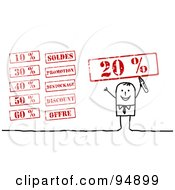 Royalty Free RF Clipart Illustration Of A Digital Collage Of A Stick People Businessman With Retail Stamps by NL shop
