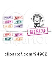 Royalty Free RF Clipart Illustration Of A Digital Collage Of A Stick People Businessman With Music Stamps by NL shop