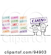 Royalty Free RF Clipart Illustration Of A Digital Collage Of A Stick People Couple With Entertainment Stamps by NL shop