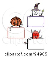 Royalty Free RF Clipart Illustration Of A Digital Collage Of Blank Halloween Stick People Signs by NL shop