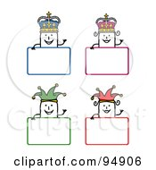 Royalty Free RF Clipart Illustration Of A Digital Collage Of Blank Stick People King Queen And Jester Signs by NL shop