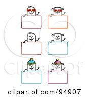 Royalty Free RF Clipart Illustration Of A Digital Collage Of Blank Summer And Winter Stick People Signs