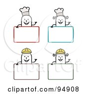 Royalty Free RF Clipart Illustration Of A Digital Collage Of Blank Chef And Construction Worker Stick People Signs