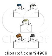 Royalty Free RF Clipart Illustration Of A Digital Collage Of Blank Hat Stick People Signs by NL shop