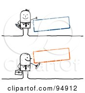 Royalty Free RF Clipart Illustration Of A Digital Collage Of A Stick People Man With Blank Blue And Orange Text Boxes