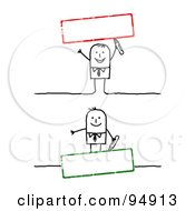 Royalty Free RF Clipart Illustration Of A Digital Collage Of A Stick People Man With Blank Red And Green Text Boxes by NL shop