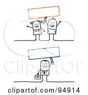 Royalty Free RF Clipart Illustration Of A Digital Collage Of Blank Red And Green Text Boxes With A Stick People Man And Couple by NL shop