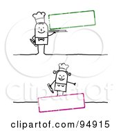 Royalty Free RF Clipart Illustration Of A Digital Collage Of A Blank Text Boxes With Stick People Chefs