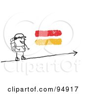 Royalty Free RF Clipart Illustration Of A Stick People Man Hiking Uphill by NL shop