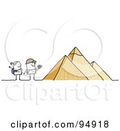 Royalty Free RF Clipart Illustration Of A Stick People Tourist Couple Visiting The Egyptian Pyramids