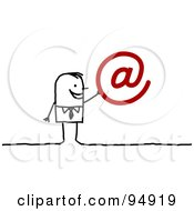 Royalty Free RF Clipart Illustration Of A Stick People Businessman With A Red Arobase