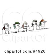 Royalty Free RF Clipart Illustration Of A Stick People Group Climbing A Mountain