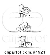 Royalty Free RF Clipart Illustration Of A Stick People Kama Sutra Couple In Different Positions 1 by NL shop