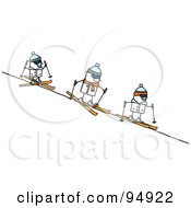 Royalty Free RF Clipart Illustration Of A Stick People Group Skiing Downhill by NL shop