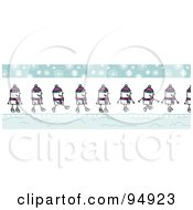 Royalty Free RF Clipart Illustration Of A Border Of A Happy Stick People Man Walking On A Snowy Winter Day