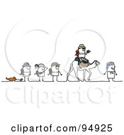 Royalty Free RF Clipart Illustration Of A Stick People Group Trekking The Desert by NL shop