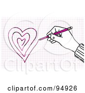 Royalty Free RF Clipart Illustration Of A Hand Drawing Hearts On Graph Paper With A Pencil by NL shop