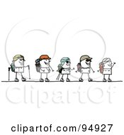 Royalty Free RF Clipart Illustration Of A Stick People Group Walking In A Desert by NL shop