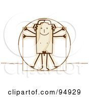Royalty Free RF Clipart Illustration Of A Stick People Vitruvian Man by NL shop