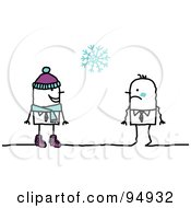 Royalty Free RF Clipart Illustration Of A Stick People Man In Winter Clothing Approaching A Cold Man by NL shop
