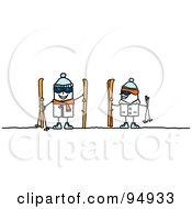 Royalty Free RF Clipart Illustration Of A Stick People Couple With Skis