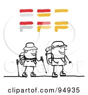 Royalty Free RF Clipart Illustration Of A Stick People Couple Hiking by NL shop