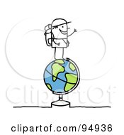 Royalty Free RF Clipart Illustration Of A Stick People Man Traveler Standing On Top Of A Globe by NL shop