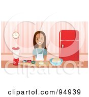 Royalty Free RF Clipart Illustration Of A Brunette Woman Smiling While Baking Cookies In A Kitchen
