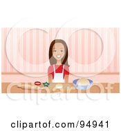 Royalty Free RF Clipart Illustration Of A Brunette Woman Smiling While Using Cookie Cutters In A Kitchen by Monica