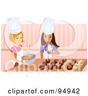 Royalty Free RF Clipart Illustration Of Two Happy Women Creating Elegant Chocolates In A Kitchen
