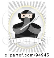Ninja In Black Over A Blank Banner On A Grungy Gray Ray Background