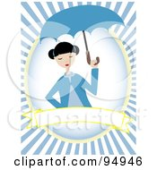 Royalty Free RF Clipart Illustration Of A Woman With An Umbrella Over A Blank Banner On A Blue Ray Background