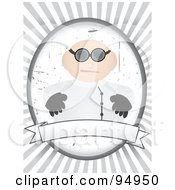 Royalty Free RF Clipart Illustration Of A Mad Doctor Over A Blank Banner On A Gray And White Ray Background