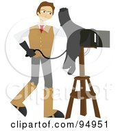 Royalty Free RF Clipart Illustration Of A Male Photographer Using An Old Fashioned Box Camera
