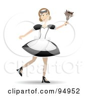 Royalty Free RF Clipart Illustration Of A Smiling Maid Using A Feather Duster